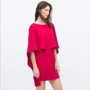 EUC Zara Backless Pink Cape Dress - M